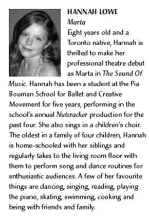Hannah's Bio in the Sound of Music Programme